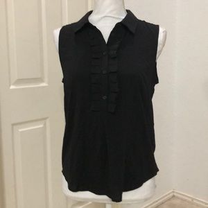 Tommy Hilfiger Ruffle Front Slvless  Woven Blouse